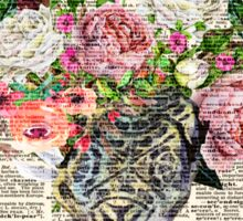 Skull & Flowers on Vintage Dictionary Page Sticker