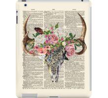 Skull & Flowers on Vintage Dictionary Page iPad Case/Skin