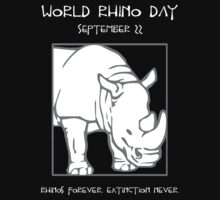 World Rhino Day -- Rhinos Forever. Extinction Never. One Piece - Long Sleeve