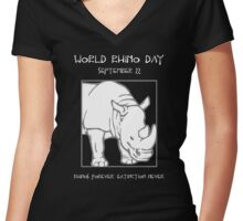 World Rhino Day -- Rhinos Forever. Extinction Never. Women's Fitted V-Neck T-Shirt