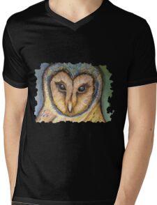 Majestic Owl Oil Pastel Mens V-Neck T-Shirt