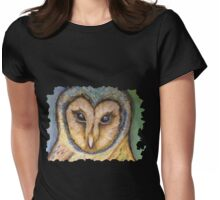 Majestic Owl Oil Pastel Womens Fitted T-Shirt