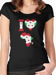 Burundi flag Africa map Women's Fitted Scoop T-Shirt