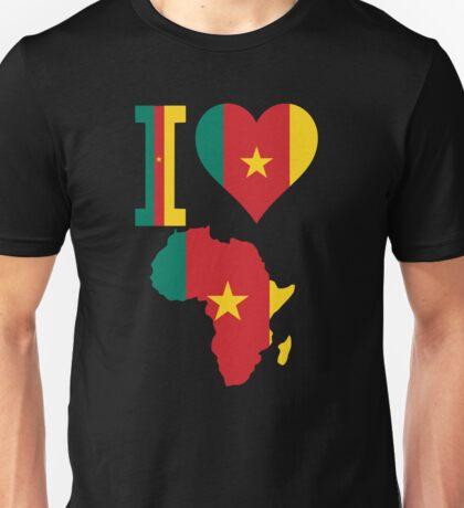 I love Cameroon flag Africa map  Unisex T-Shirt