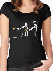 Banksy - Pulp Fiction Banana Guns Women's Fitted Scoop T-Shirt