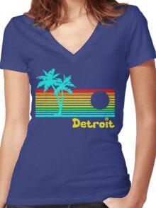 Tropical Detroit (funny vintage design) Women's Fitted V-Neck T-Shirt