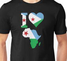 I love Djibouti flag Africa map Unisex T-Shirt