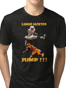 LAMAR JACKSON IN ACTION Tri-blend T-Shirt