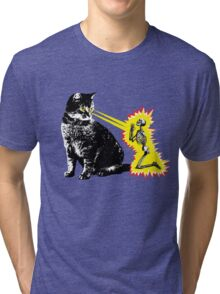 What your cat is really thinking, cat death ray Tri-blend T-Shirt