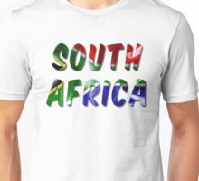 South Africa Word With Flag Texture Unisex T-Shirt