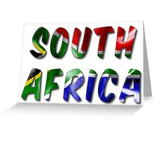 South Africa Word With Flag Texture Greeting Card