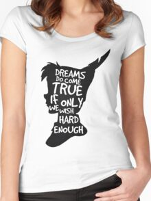 Dreams Peter Pan Quote Silhouette   Women's Fitted Scoop T-Shirt