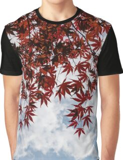 Japanese Maple Red Lace - Horizontal View Downwards Right Graphic T-Shirt