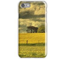 Storm clouds over gold field iPhone Case/Skin