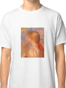 Renoir Auguste - Girl With A Red Hair Ribbon 1891 Classic T-Shirt