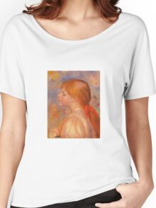 Renoir Auguste - Girl With A Red Hair Ribbon 1891 Women's Relaxed Fit T-Shirt