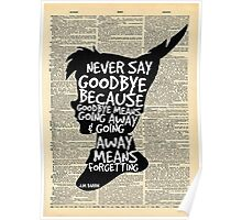 Peter Pan Vintage Dictionary Page Style -- Goodbye Poster