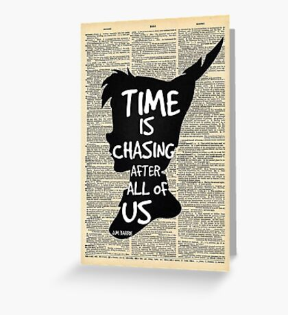 Peter Pan Vintage Dictionary Page Style -- Time Greeting Card