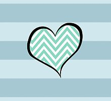 Zigzag (Chevron), Stripes, Heart - White Blue by sitnica