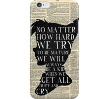 Peter Pan Vintage Dictionary Page Style -- No Matter iPhone Case/Skin