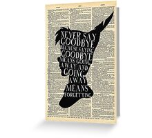 Peter Pan Vintage Dictionary Page Style -- Never Say Greeting Card