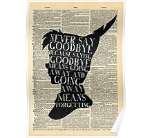 Peter Pan Vintage Dictionary Page Style -- Never Say Poster
