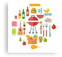 Flat Design BBQ and Picnic Elements Canvas Print