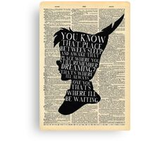 Peter Pan Vintage Dictionary Page Style -- That Place Canvas Print