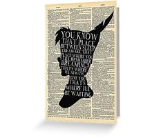Peter Pan Vintage Dictionary Page Style -- That Place Greeting Card