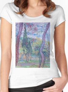 Vincent Van Gogh -  Garden Of  Saint-Paul Hospital, 1889 Women's Fitted Scoop T-Shirt