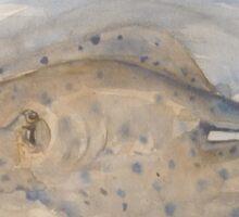 Blue Spotted Stingray by Liz H Lovell Sticker