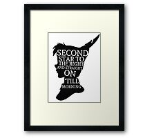 Peter Pan Quote Silhouette -- Second Star Framed Print