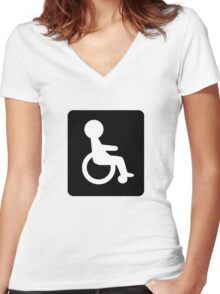 Handicapped Logo Sign Icon Women's Fitted V-Neck T-Shirt
