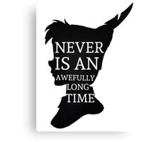 Peter Pan Quote Silhouette -- Never Is Canvas Print