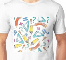 Hand drawn seamless pattern with marker, pen, ruler and rubber Unisex T-Shirt