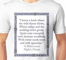 I Know a Bank Where The Wild Thyme Blows - Shakespeare Unisex T-Shirt