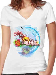 Gold Coast Queensland, Australia Women's Fitted V-Neck T-Shirt