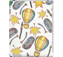 Hand drawn school seamless pattern with autumn leaves,balloons, paints and brushes. iPad Case/Skin