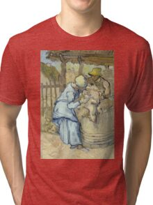 Vincent Van Gogh -  Sheep-Shearer (After Millet) 1889 Tri-blend T-Shirt