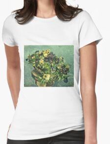 Vincent Van Gogh - Basket Of Pansies  Womens Fitted T-Shirt