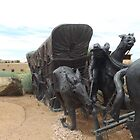 Horse and Covered Wagon Sculpture, Santa Fe, New Mexico  by lenspiro