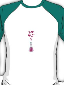 Chemistry Flask, Laboratory Glassware, Pink Hearts  T-Shirt