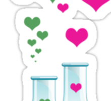 Chemistry Flask, Lab Glassware, Heart - Pink Green Sticker