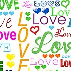 Colorful Love, Hearts - Red Yellow Green Blue by sitnica