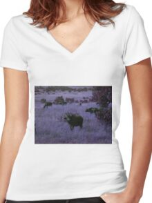 Cape Buffalo in Purple Women's Fitted V-Neck T-Shirt
