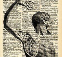 Vintage Dictionary Page Anatomy  Side Arm Profile by Alyssa  Clark