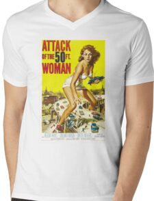 Attack of the 50 Foot Woman - Classic Movie Poster Mens V-Neck T-Shirt
