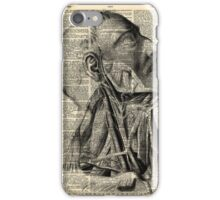 Vintage Dictionary Page Face and Neck  Side Profile iPhone Case/Skin