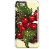 Christmas Holly, Berries, Pine Cones, Holiday Art iPhone Case/Skin