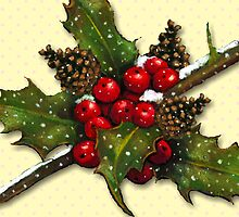 Christmas Holly, Berries, Pine Cones, Holiday Art by Joyce Geleynse